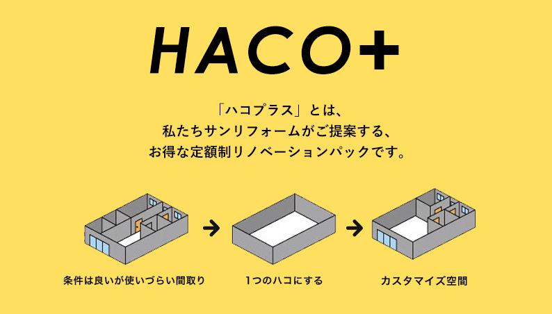 「ハコプラス」とは、私たちサンリフォームがご提案する、お得な定額制リノベーションパックです。